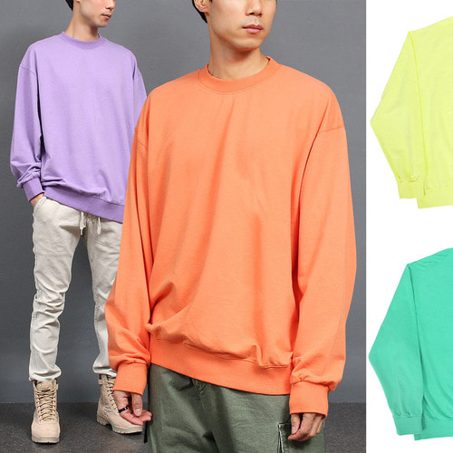 Loose Fit Wide Shoulder Light Color Sweatshirt 025