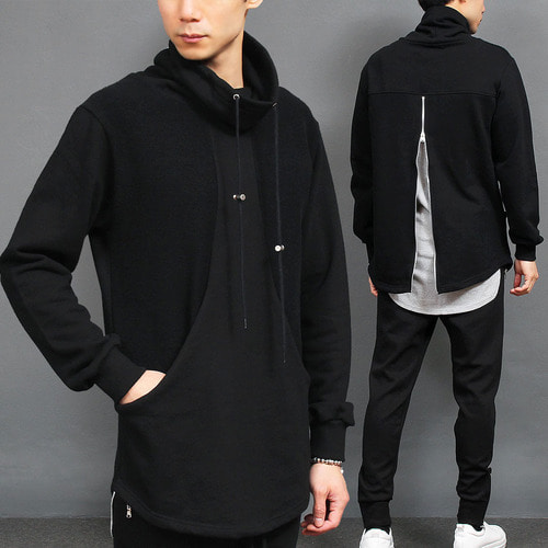 Black High Turtle Neck Back Zipper Sweatshirt 028