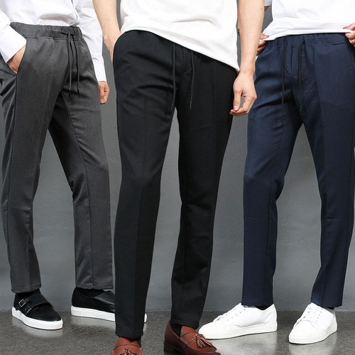 Slim Fit Elasticized Waistband Slacks Pants 009