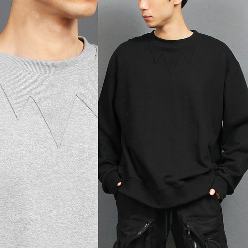 Loose Fit Zigzag Ribbed Crew Neck Sweatshirt 029