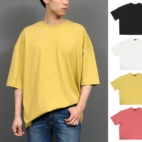 Oversized Loose Fit Color Half Sleeve tee 136