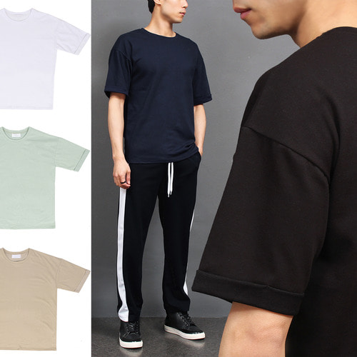 Loose Fit Rolled Up Short Sleeve tee 137