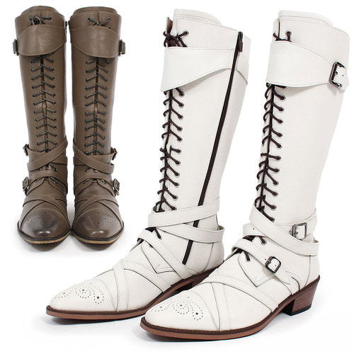 Handmade Leather Buckle Belted Lace Up Long Boots 001