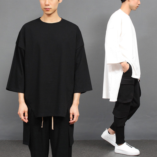 Avant garde Long Back Hem Split Side 3/4 Sleeve Tee 137
