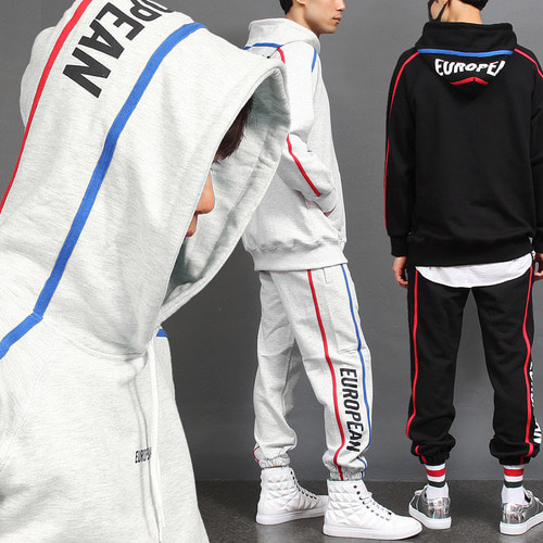 Logo Double Line Hoodie Joggers Gym Wear Set 003