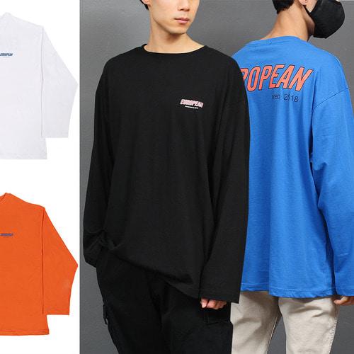 Loose Fit Logo Printing Boxy Long Sleeve Tee 02