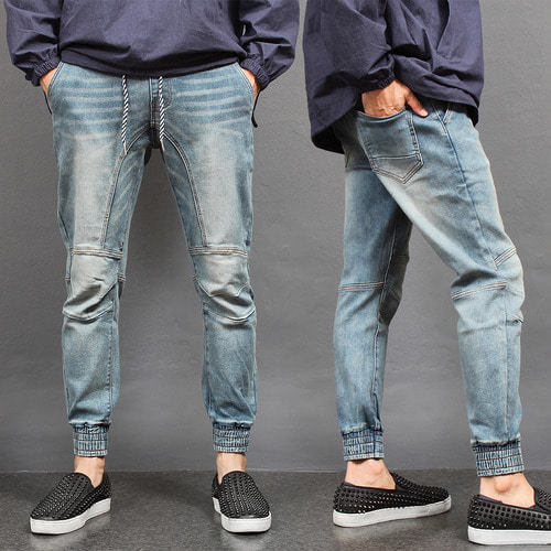 Vintage Fade Washed Biker Denim Jogger Pants