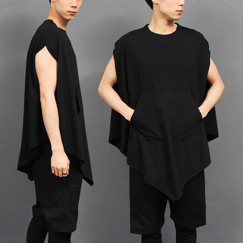 Avangt garde Pocket Cape Sleeveless Sweatshir