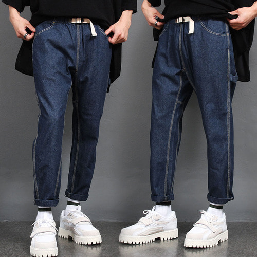 Loose Fit Buckle Waistband Raw Denim Pants 040