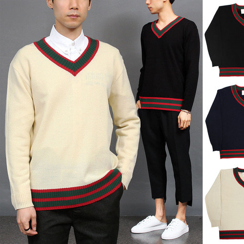 Contrast Color V Neck Hem Knit Jumper 004