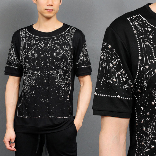 Unique Fashion Constellation Studs Glitter Short Sleeve Tee 142