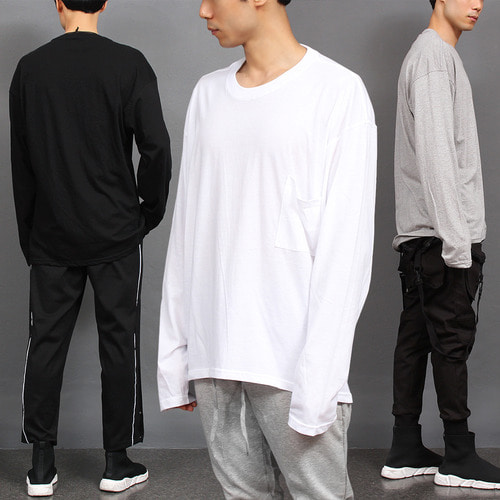 Loose Fit Pocket Oversized Long Sleeve Boxy Tee 022