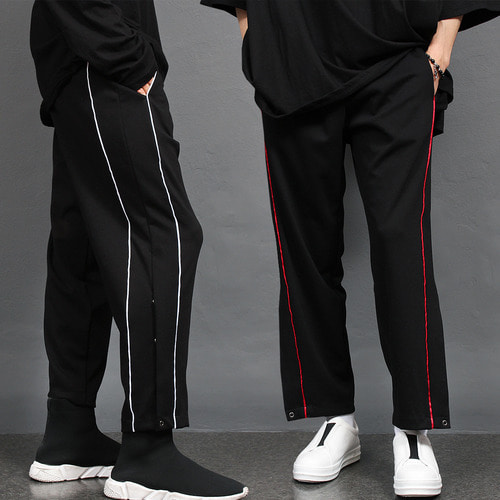 Side Line Split Hem Snap Button Jersey Sweatpants