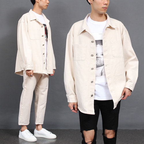 Beige Loose Fit Denim Jacket