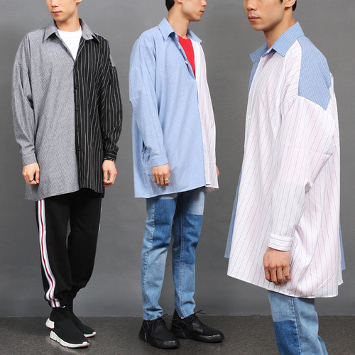 Unique Fashion Half Striped Over Boxy Shirt