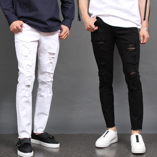 Vintage Damaged Cut Off Black White Skinny Jeans