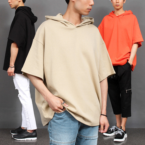 Loose Fit Big Over Boxy Short Sleeve Hoodie 026
