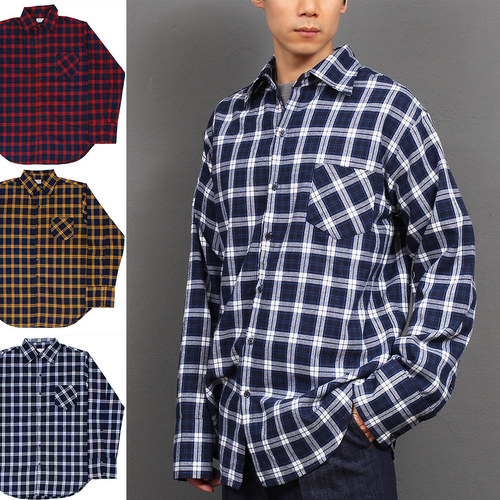 Checkered Pattern Button Up Cuffs Over Boxy Shirt 027