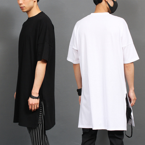 Oversized Long Split Hem Boxy Shirt 176
