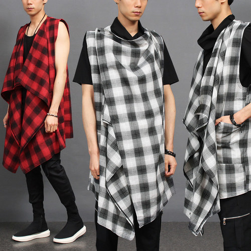Avant garde Check Pattern Cross Shawl Vest 004