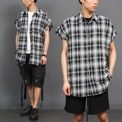 Loose Fit Snap Button Boxy Checkered Pattern Shirt Vest