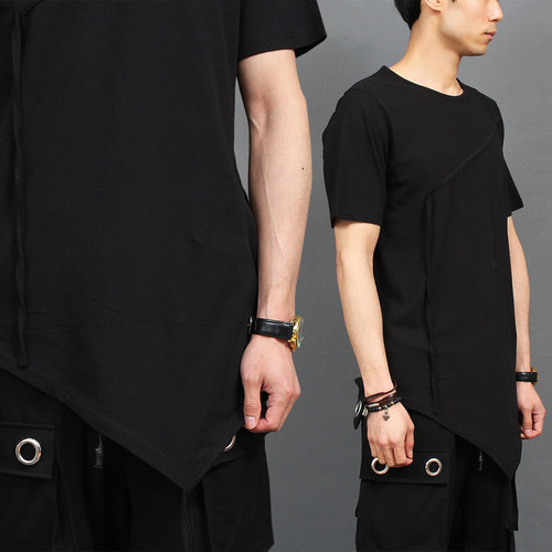 Unbalanced Strap Draped Hem Short Sleeve Tee 190