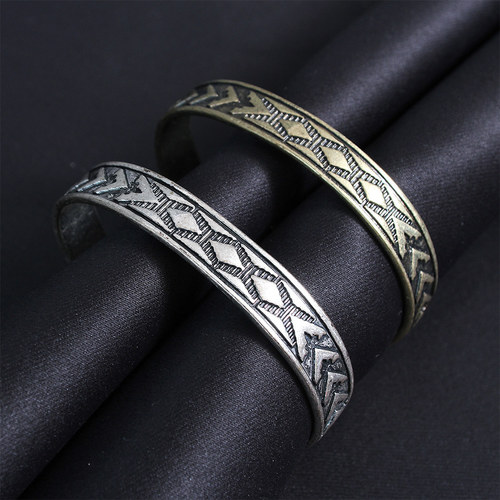Vintage Antique Pattern Engraved Cuff Bangle Bracelet B222