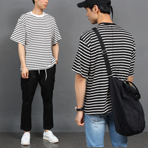 Loose Fit Striped Pattern Short Sleeve Tee