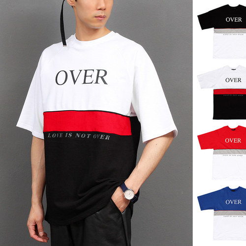 Hiphop Fashion Logo Printing Color Short Sleeve Tee 203
