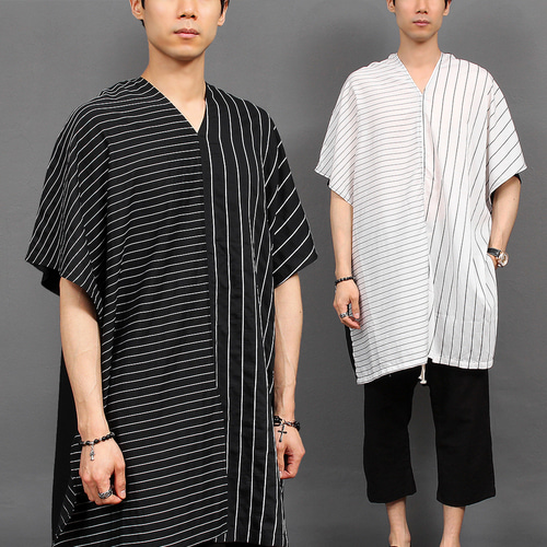 Avant garde Half Striped Split Boxy Long Tee 215