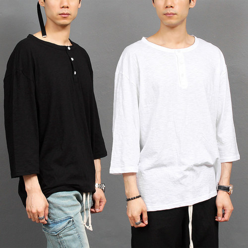 Loose Fit Henley Neck 3/4 Sleeve Boxy Tee 216