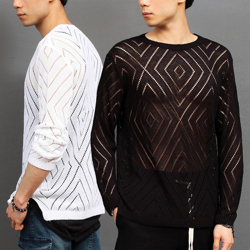 Diamond Pattern See Through Mesh Knit Tee 006