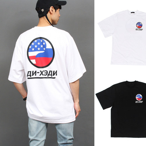US Flag Graphic Printing Boxy Short Sleeve Tee