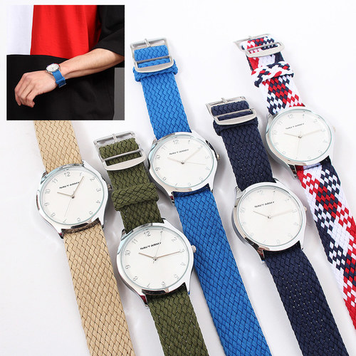 Weave Pattern Strap Color Round Watch