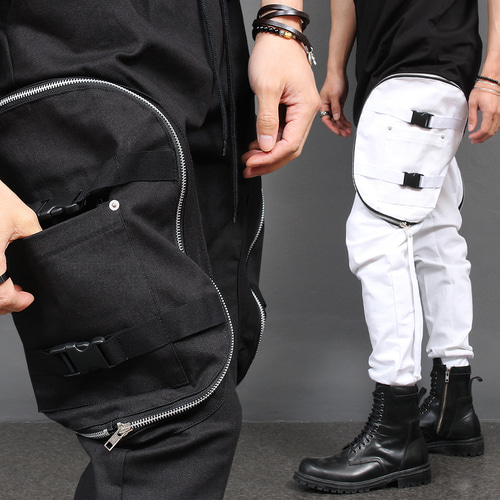 Techwear Big Zipper Cargo Pocket Slim Joggers