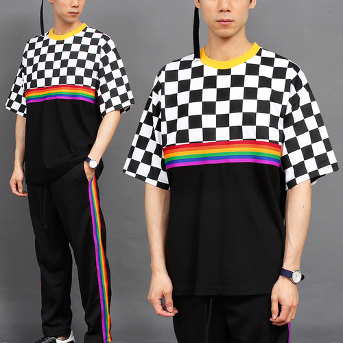 Street Fashion Rainbow Checkered Pattern Short Sleeve Tee 223
