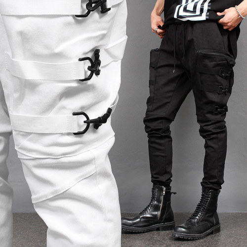 6 Buckle Zipper Big Cargo Pocket Webbing Strap Jogger Pants 081
