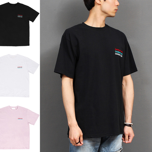 Loose Fit Logo Stitiched Boxy Short Sleeve Tee 230