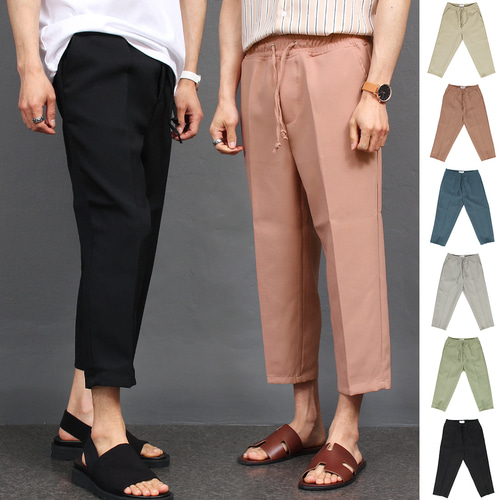 Crop Wide Color Elasticized Waistband Slacks Pants 022