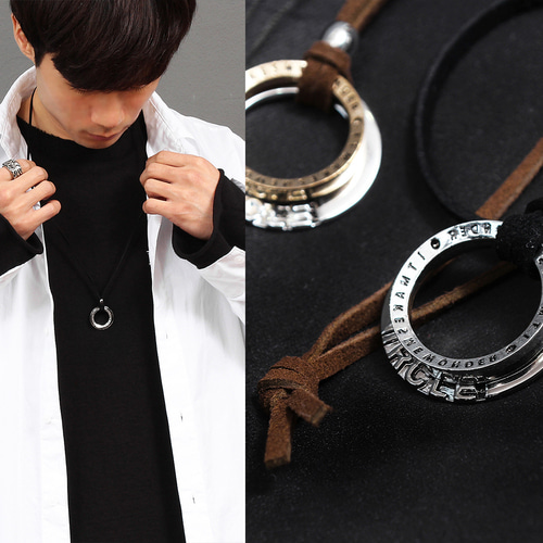 Double Ring Pendant Leather Strap Necklace N95