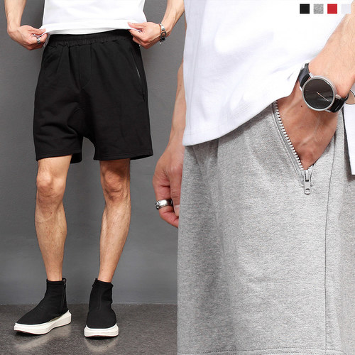 Street Fashion Zipper Pocket Short Sweatpants 012