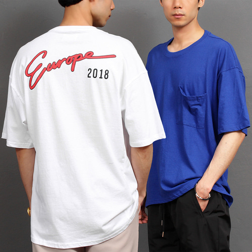 Loose Fit Eyrope Logo Printing Pocket Boxy Short Sleeve Tee 244
