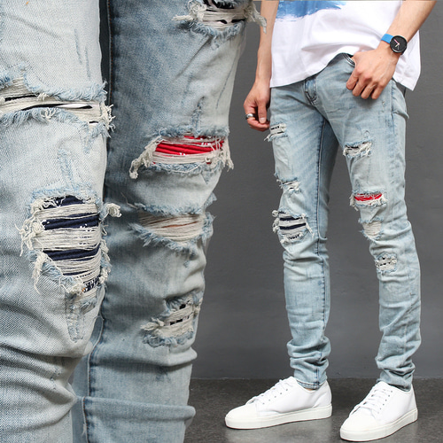 Distressed Destroyed Embroidered Patch Blue Skinny Jeans 069