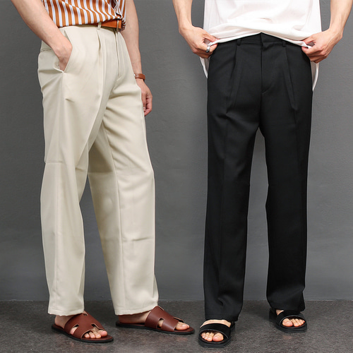 Loose Fit Elasticized Waistband Wide Slacks Pants 028