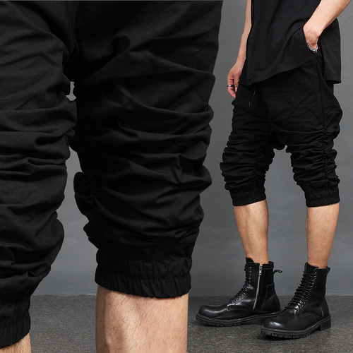 Shirring Wrinkle Leg 3/4 Baggy Sweatpants