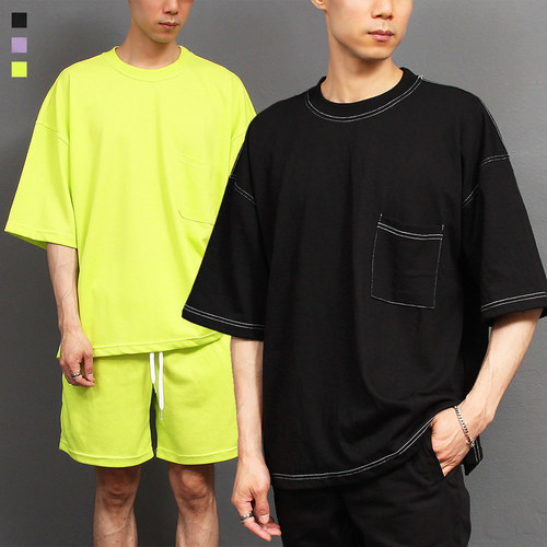Contrast Stitched Line Sportive Short Sleeve Tee 268
