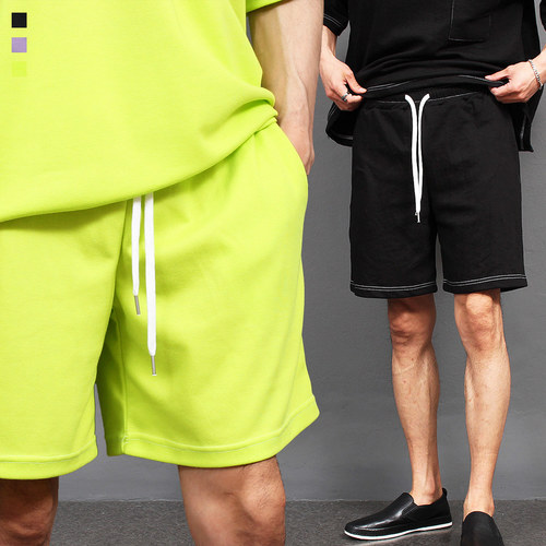 Contrast Stitched Line Sportive Short Sweatpants 020