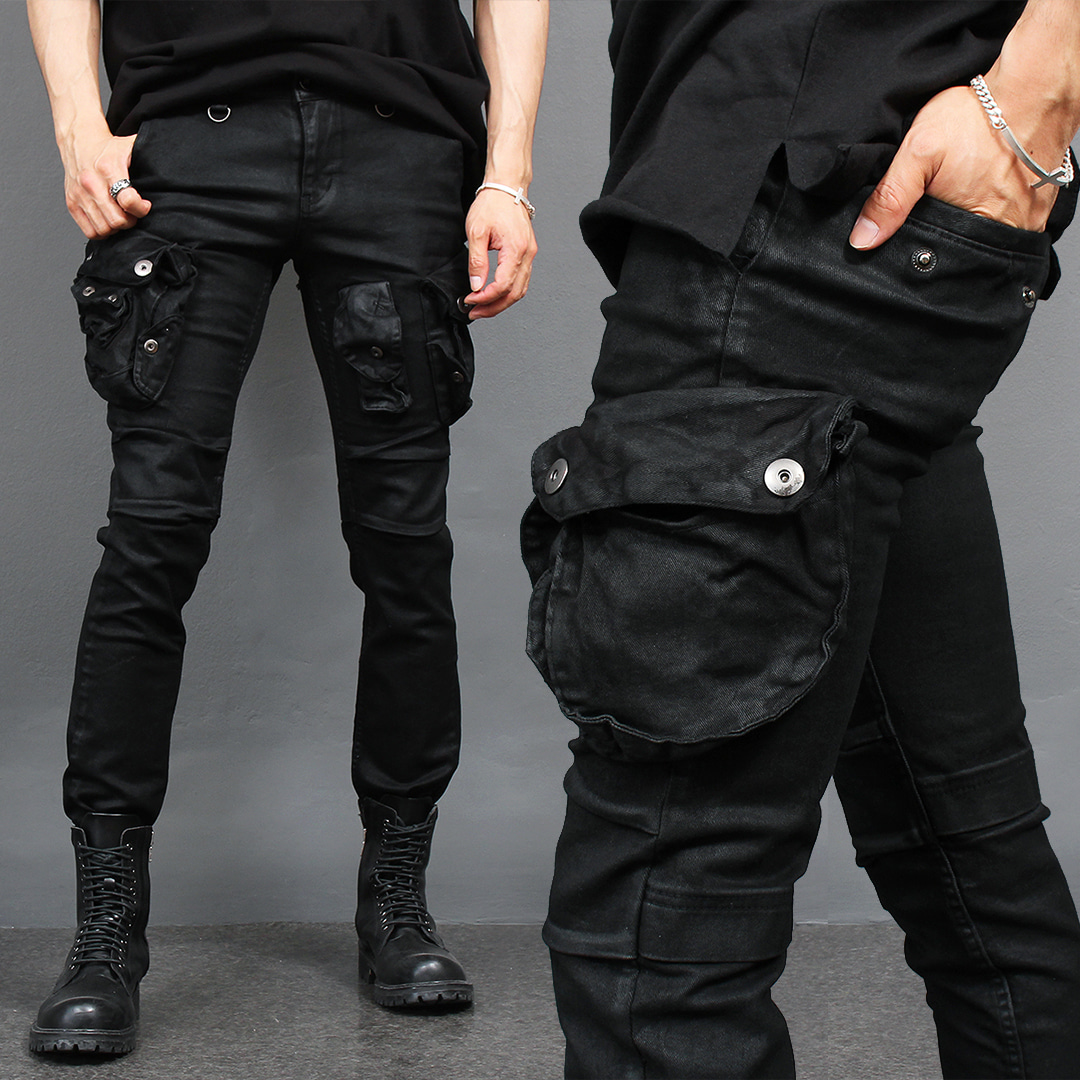 Multi Cargo Vintage Wax Coated Slim Biker Jeans