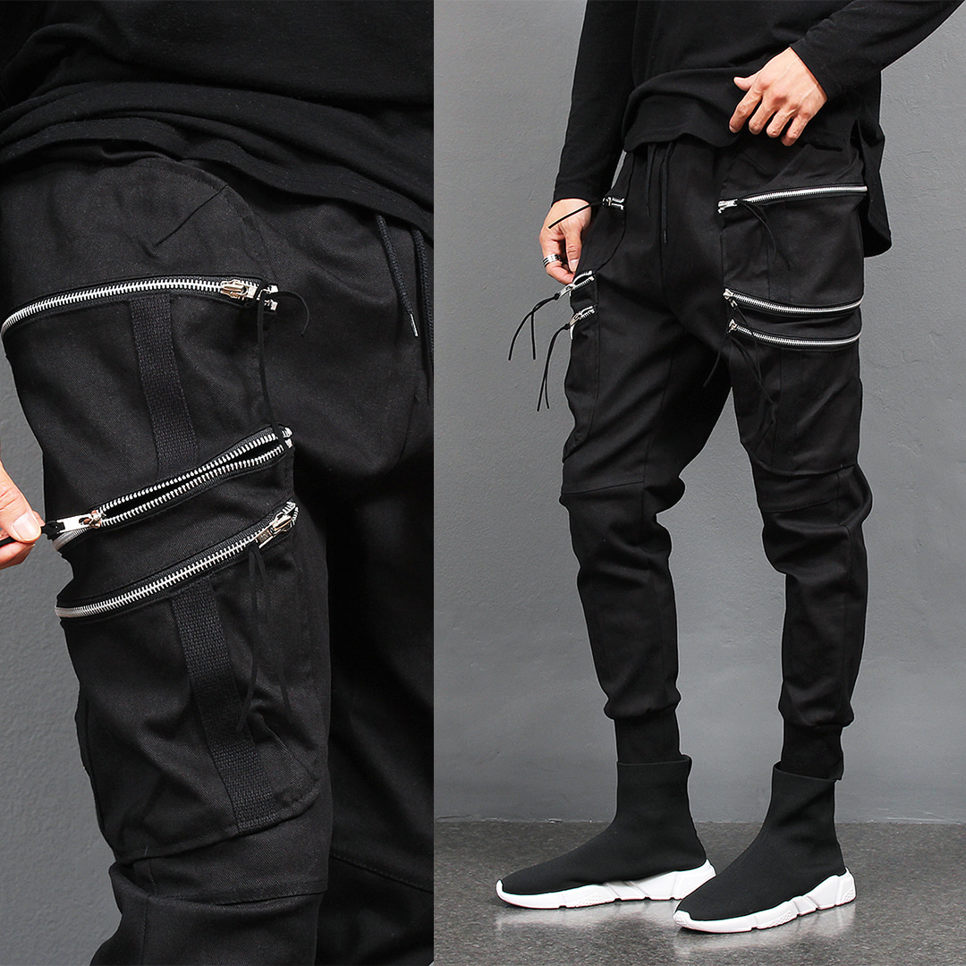 Multi Zipper Big Cargo Pocket Semi Baggy Jogger Pants