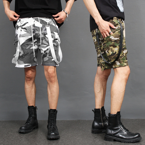 Camouflage Cargo Pocket Webbing Strap Short Sweatpants 026